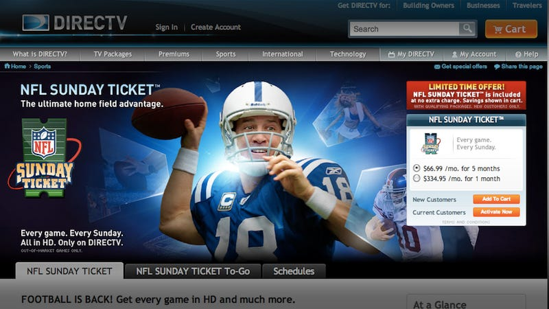 Illustration for article titled Watch Every Football Game with Sunday NFL Ticket On Your PS3