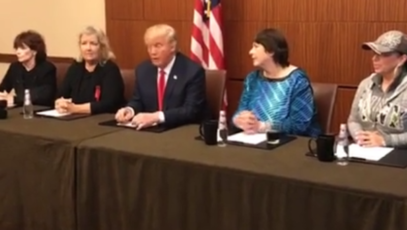 Illustration for article titled Donald Trump Manages to Not Grab Anything in Surprise Facebook Live With Clinton Accusers