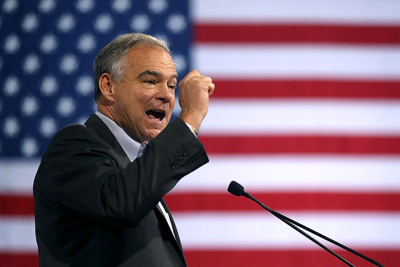 Democratic vice presidential candidate Sen. Tim Kaine (D-Va.) speaks during a campaign rally at Florida International University Panther Arena on July 23, 2016, in Miami.Justin Sullivan/Getty Images
