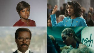Top row: Viola Davis in How to Get Away With Murder; Kerry Washington as Anita Hill in Confirmation. Bottom row: Courtney B. Vance as Johnnie Cochran in The People v. O.J. Simpson: American Crime Story; Beyoncé in Lemonade.Top row: ABC; HBO. Bottom row: FX; HBO.