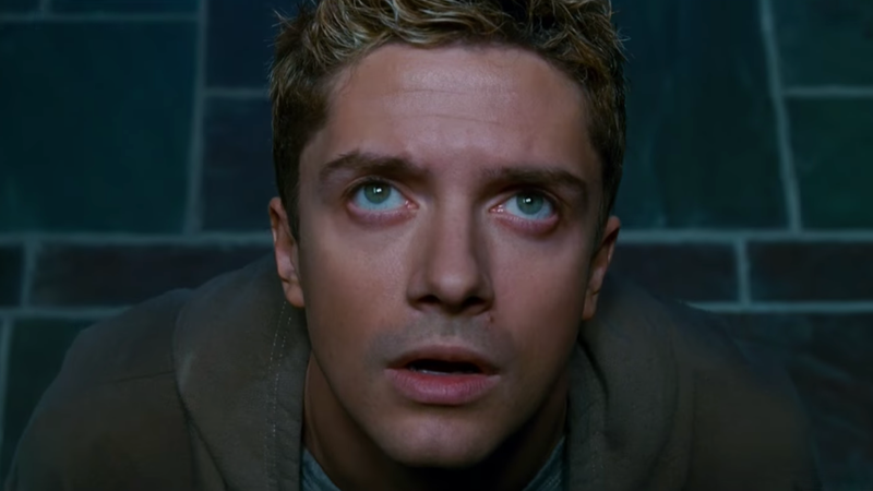 Topher Grace is about to get a face full of black slime.