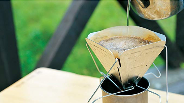 Snow Peak's foldable coffee drip is as simple as pour over coffee makers come, but it weighs less than five ounces, and folds up to fit easily in your pack.