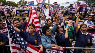 A crowd cheers during a rally in support of immigration reform on Oct. 8, 2013, in Washington, D.C.  Drew Angerer/Getty Images