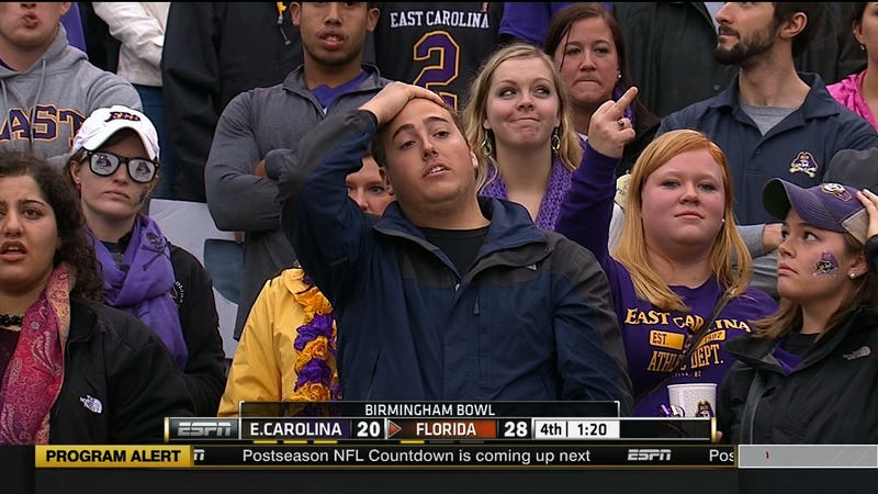 Illustration for article titled East Carolina Fans Have All The Sad Faces And A Bird