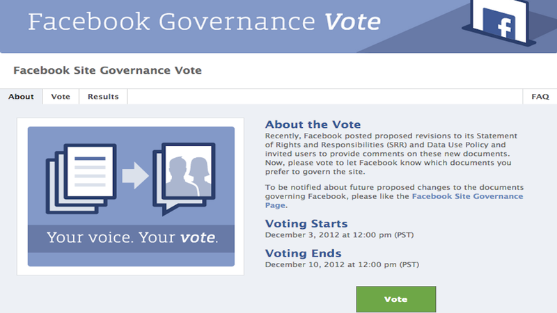 Illustration for article titled Vote On Facebook's New Policy Changes, Or You'll Never Get Another Chance