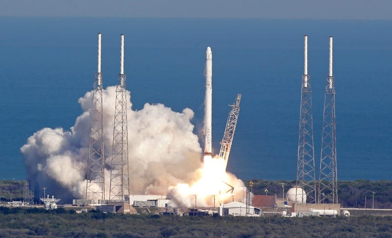 The SpaceX Falcon 9 rocket lifts off from Kennedy Space Center in Cape Canaveral on April 8, 2016. (Associated Press)
