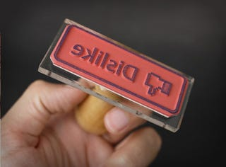 Illustration for article titled Facebook Like and Dislike Button Rubber Stamps Now Available