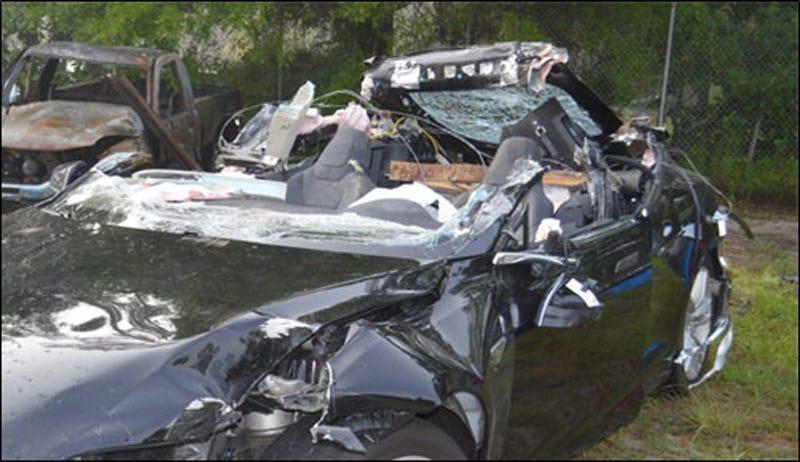 Image Credit: NTSB/Florida Highway Patrol. Passenger car damage from impact with semitrailer