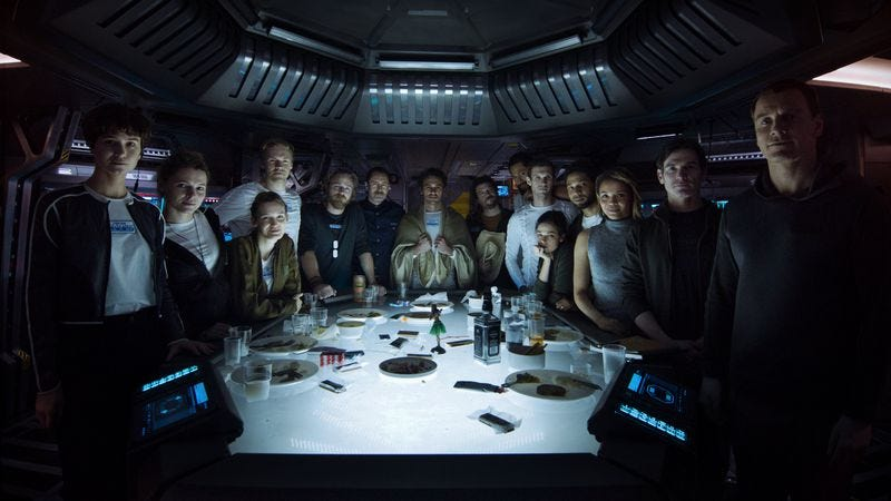 Illustration for article titled Here's a photo of the crew of Alien: Convenant in happy times