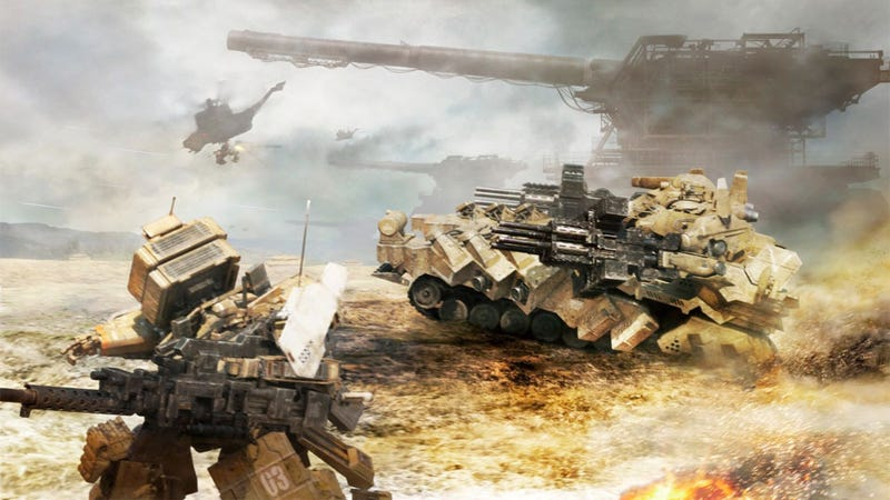 Illustration for article titled Armored Core V's Singleplayer is a Mess of Explosions and Yellow Writing