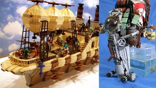 Illustration for article titled Steampunk LEGO Jabba Barge, Slave I and Other Amazing Steam Wars Models
