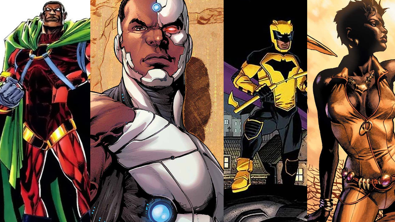 From left to right: DC heroes Icon, Cyborg, Signal, and Vixen.