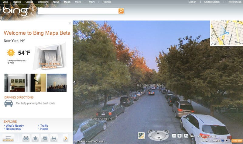 Illustration for article titled Bing Maps Take on Google With Fancy 3D Streetview