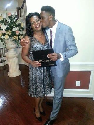 Kenny Okwara with his motherKenny Okwara via Twitter
