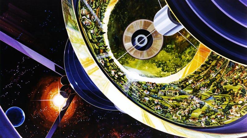 Illustration for article titled Así eran las enormes colonias espaciales que la NASA imaginó en 1975