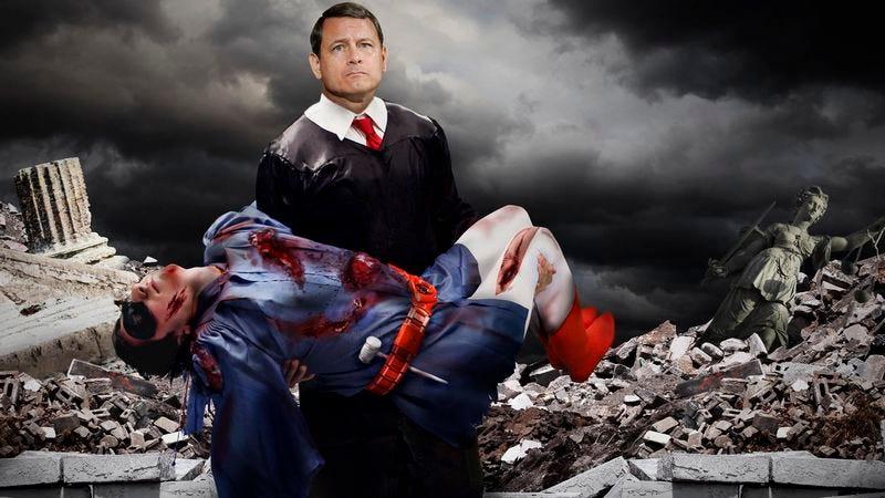 Chief Justice John Roberts cradles the body of his beloved sidekick, Kid Justice.