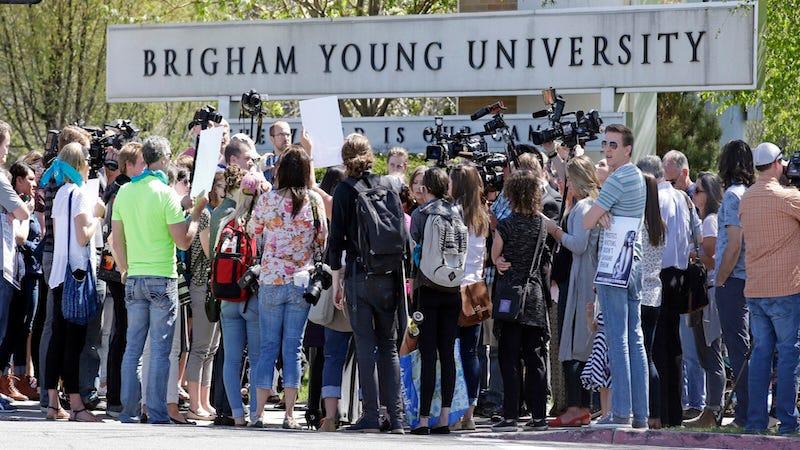 Protestors at BYU. Image via AP.