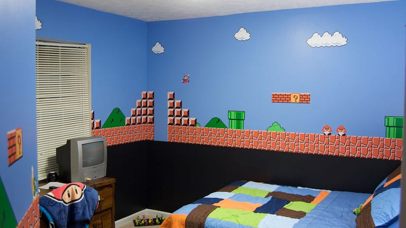 Illustration for article titled This Child Sleeps In A Mario Paradise