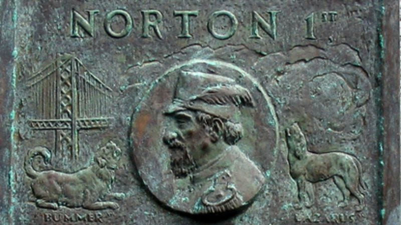 A plaque intended to grace the San Francisco-Oakland Bay Bridge, which Norton decreed be built. (Photo: Public domain)