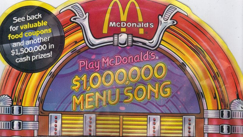 In 1988 Mcdonalds Released A Maddening 1000000 Menu Song
