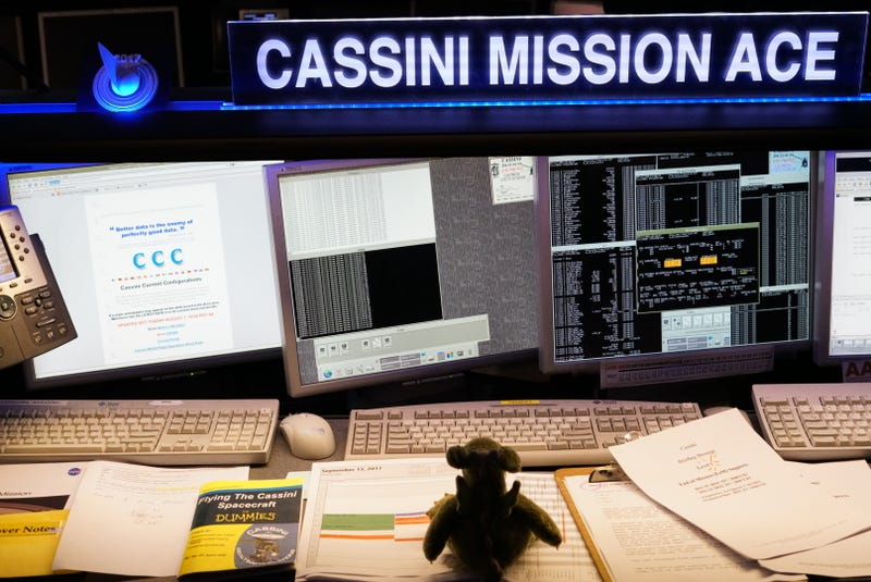 Puff the Science Dragon taking a shift as Cassini Mission ACE at JPL on Wednesday. (Mika McKinnon)