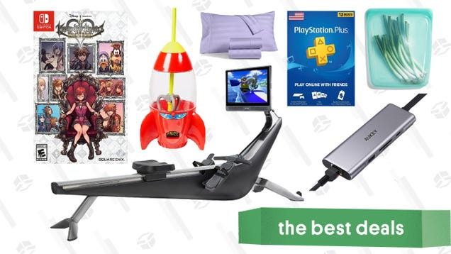 Monday s Best Deals: PlayStation Plus, Hydrow Connected Rower, Disney Store Sale, Stasher Reusable Food Bags, Kingdom Hearts Games, Charter Club Sheets, and More