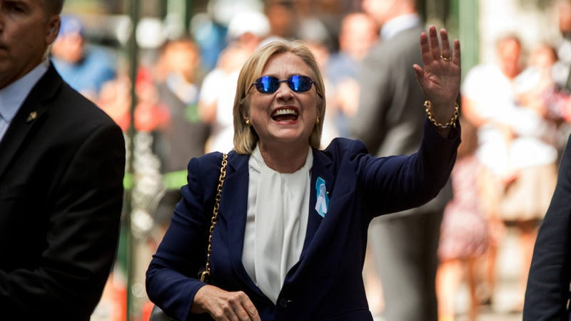 Hillary Clinton waves after leaving an apartment building Sunday, Sept. 11, 2016, in New York. (Image: Associated Press)