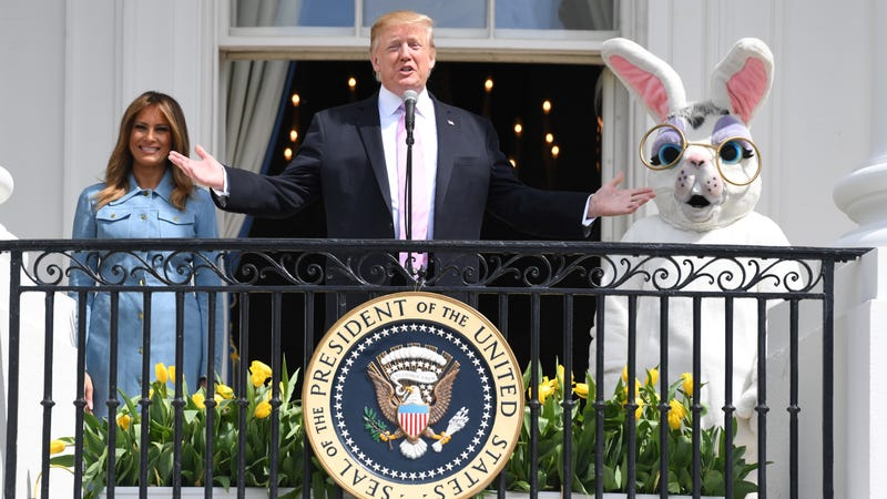 Musical 'Be Best' Eggs, Sarah Huckabee Sanders, a Cop Tennis Ball, and Other Scenes From the White House Easter Egg Roll