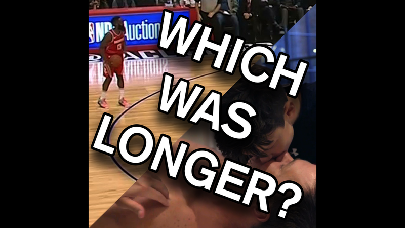 Illustration for article titled Which Was Longer: James Harden's Staredown Or Tom Brady's Kiss With His Son?