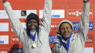 Olympic bobsledders Aja Evans and Elana MeyersGene Sweeney Jr/Getty Images
