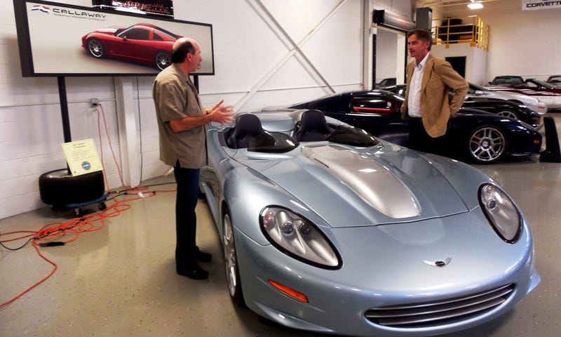 Dr. Paul Deutschman, right, and Ken Lingenfelter with the one-of-one Callaway C16 Speedster, in the Lingenfelter Collection in Michigan.
