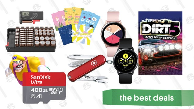 Wednesday's Best Deals: SanDisk 400GB microSD, Dirt 5, Samsung Galaxy Active 2, PlayStation Plus, Battery Tester, FaceTory Sheet Masks, and More