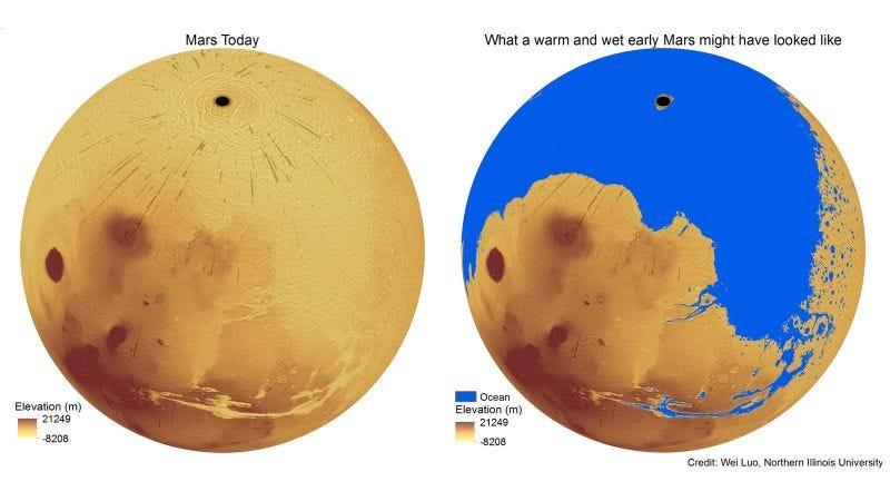A la izquierda, Marte hoy. A la derecha, cómo se vería Marte con la presencia de océanos. Imagen: Luo - Universidad de Illinois.