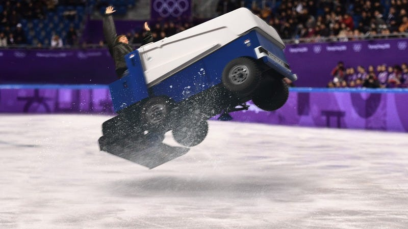 Illustration for article titled This Is Why We Watch: A Zamboni Just Performed The First Ever Quadruple Axel In Olympics History