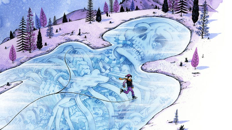 Illustration for article titled Concept Art Writing Prompt: A giant's skeleton slumbers beneath a frozen lake
