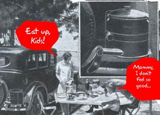 Illustration for article titled 1930s Steam Cooker Uses Car Exhaust To Cook For, Poison Your Family