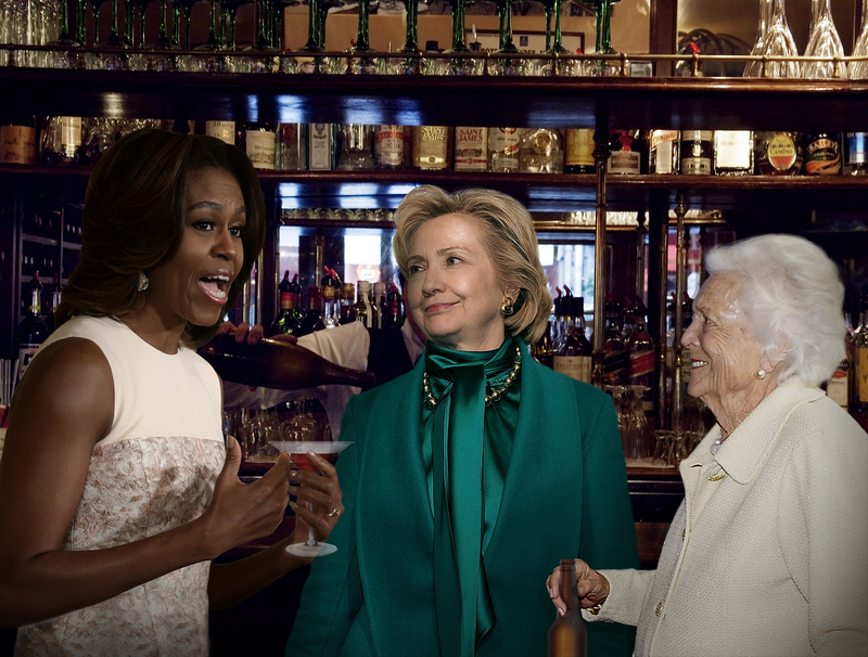Illustration for article titled Michelle Obama, Hillary Clinton, Barbara Bush Hit D.C. Bar Scene For First Ladies Night Specials