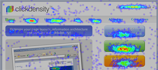Illustration for article titled Clickdensity web site click heat map