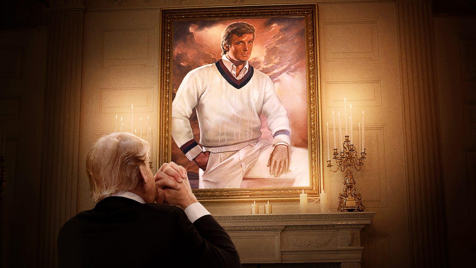'Please Guide Me In My Darkest Hour Lord,' Prays Trump Kneeling Before Portrait Of Himself