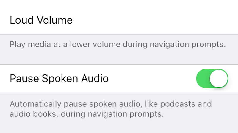 Illustration for article titled Automatically Pause Audio Books and Podcasts When Apple Maps Gives You Navigation Prompts