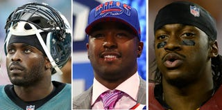 Michael Vick (Brian Cleary/Getty Images); E.J. Manuel (Al Bello/Getty); Robert Griffin III (Patrick McDermott/Getty)