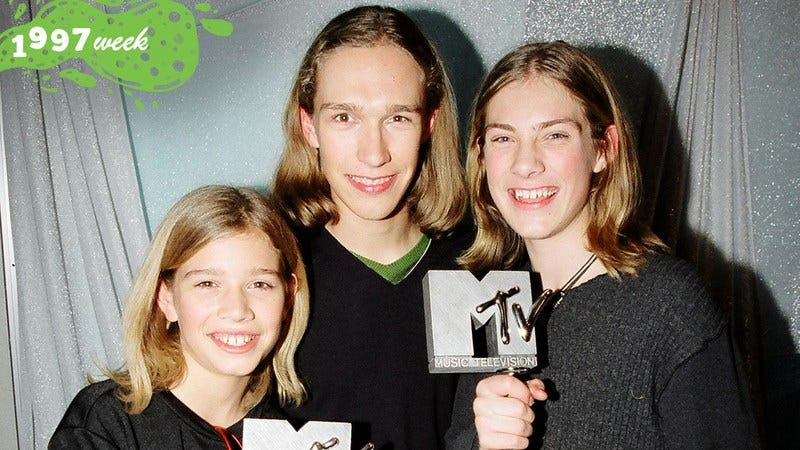 The Hanson Brothers during the 1997 MTV Europe Music Awards (Photo: Jeff Kravitz/FilmMagic, Inc/Getty Images. Graphic: Natalie Peeples)