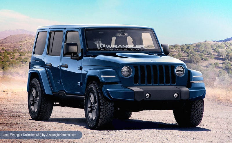 A render on what the next Wrangler might look like based on the newly discovered grille. (Photo Credit: JL Wrangler Forums)