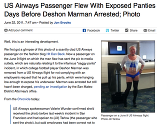 Illustration for article titled US Airways Is Cool With Dude Flying In Skimpy Panties (And Little Else)