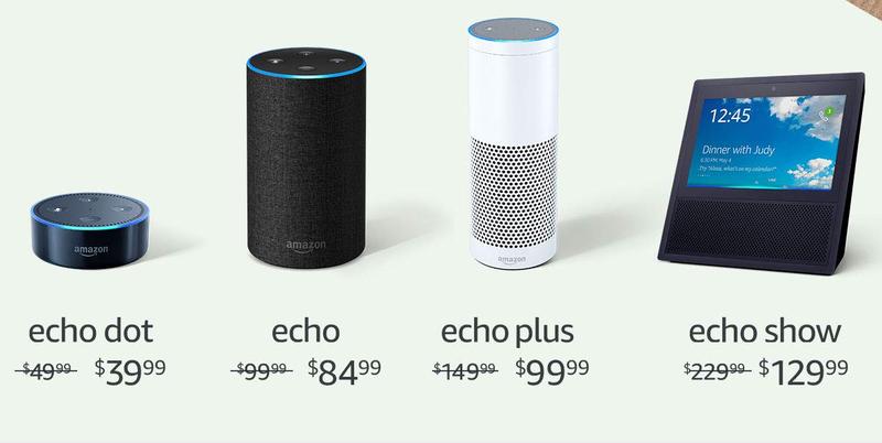 Amazon Echo Dot   $40   AmazonAmazon Echo   $85   AmazonAmazon Echo Plus + Hue Bulb   $100   AmazonAmazon Echo Show   $130   AmazonGráfico: Amazon