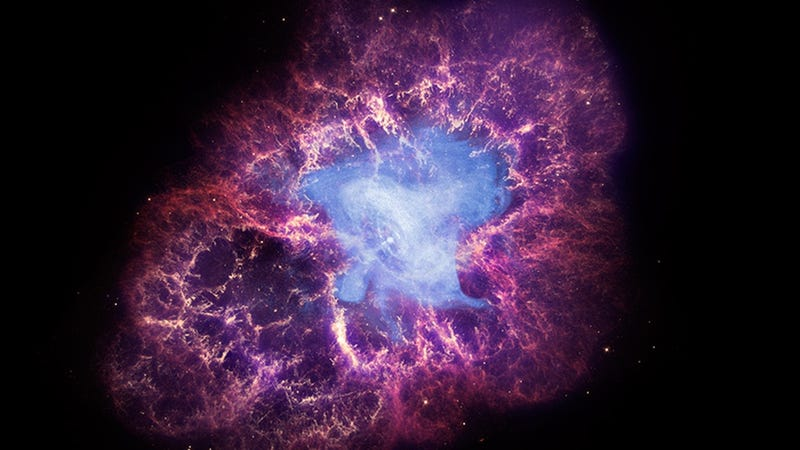 A composite image of the Crab Nebula and its pulsar, the bright dot at the center (Image: X-ray: NASA/CXC/SAO/F.Seward; Optical: NASA/ESA/ASU/J.Hester & A.Loll; Infrared: NASA/JPL-Caltech/Univ. Minn./R.Gehrz)