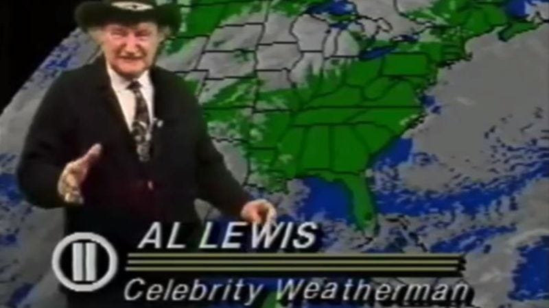 "Illustration for article titled Al ""Grandpa Munster"" Lewis brings unbridled joy to a weather forecast"