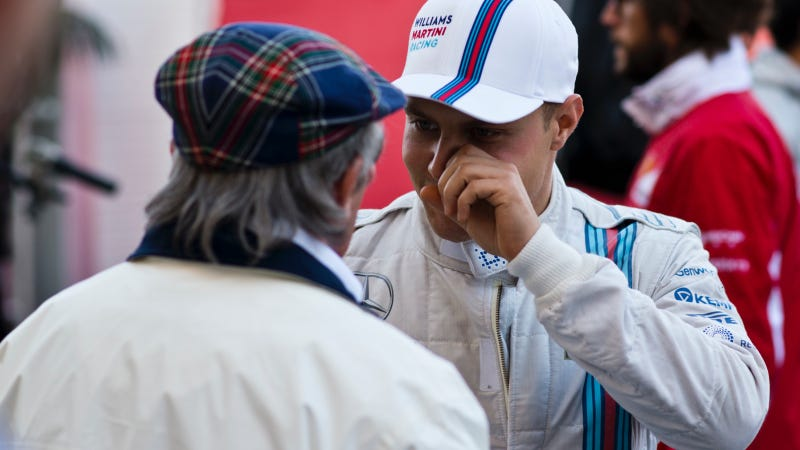 Illustration for article titled Valtteri Bottas Gets Choked Up Over Sir Jackie Stewart's Congratulations