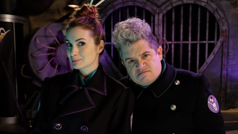 Felicia Day as Kinga Forrester and Patton Oswalt as TV's Son of TV's Frank. Image: Netflix.