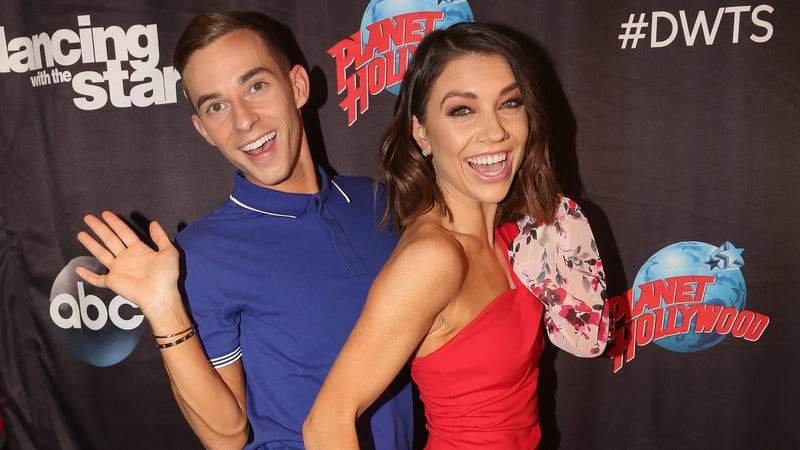 New contestant Adam Rippon with DWTS partner Jenna Johnson